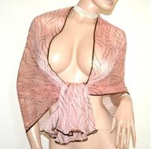 STOLA ROSA NERA ORO scialle coprispalle donna maxi foulard velato cerimonia A50