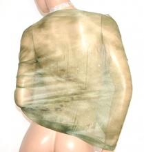 STOLA VERDE donna maxi foulard scialle velato elegante coprispalle cerimonia brillantini A2