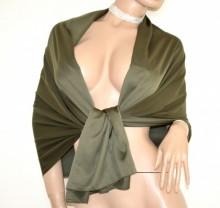 STOLA VERDE donna maxi foulard seta coprispalle scialle raso cerimonia estola scarf G82