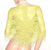 STOLA VERDE  foulard donna pizzo elegante  scialle coprispalle  ricamato velato E140