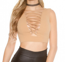 TOP BEIGE donna canotta corta maglia lacci giromanica t-shirt sottogiacca AZ87