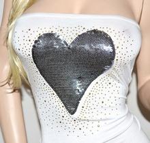 Top fascia donna bianca canotta cuore grigio maglietta cotone cuore paillettes t-shirt chiodini oro 23