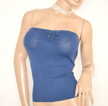 TOP FASCIA donna BLU maglietta sottogiacca cristalli elegante da cerimonia party E55
