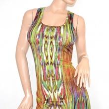 ... ELEGANTE donna maxi abito verde multicolore fantasia scollatura  incrocio schiena nuda cerimonia da sera 105A. prev. next. prev 9d45b19004c