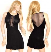 Abito donna nero cerimonia vestito elegante strass\brillantini velato sexy velature svasato dress 75