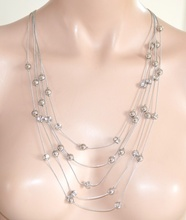 COLLANA donna LUNGA CRISTALLI argento fili strass da cerimonia elegante collier 535