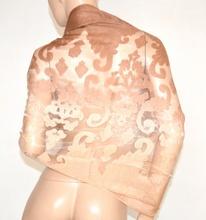 STOLA donna BEIGE BRONZO 50% SETA coprispalle scialle foulard ricamo velato elegante cerimonia A10
