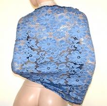 STOLA BLU AZZURRA 40% SETA coprispalle pizzo scialle donna foulard ricamato A60