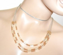 COLLANA LUNGA donna argento oro dorato multi fili collier girocollo long necklace GP16