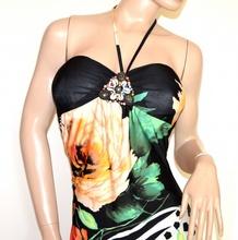 ABITO donna vestito nero floreale bianco verde pesca da sera dress elegante cerimonia A50C