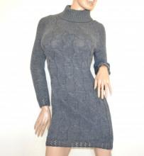 ABITO grigio scuro vestito a maglia lana donna manica lunga collo alto maglione made in Italy G70