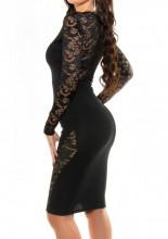 ABITO NERO donna vestito pizzo ricamato tubino manica lunga elegante dress A15