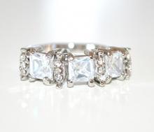 ANELLO argento donna fedina strass cristalli zirconi idea regalo san valentino E03