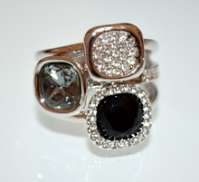 ANELLO donna argento strass trasparenti cristalli nero grigio brillantini fedina elegante cerimonia ring A23