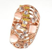 ANELLO ORO ROSA donna pietre cipria cristalli strass fedina fascia traforato elegante cerimonia 140