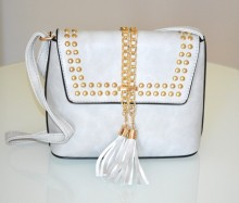 BORSA borsello grigio donna bauletto tracolla catena borchie oro dorate sac bolsa bag G95