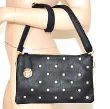 BORSELLO donna NERO borsa ELEGANTE pelle strass cristalli borsetta tracolla sac bag 15X