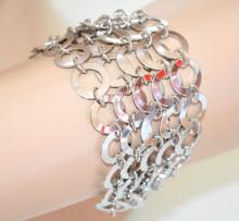 BRACCIALE ARGENTO donna anelli ciondoli multi cerchi elegante bigiotteria metallo N10