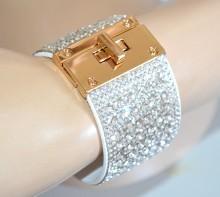 BRACCIALE BIANCO donna polsiera strass cristalli trasparenti fascia semi rigido oro BB4