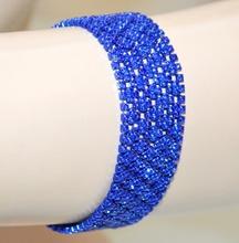 BRACCIALE blu strass donna cristalli brillantini elegante cerimonia party A19