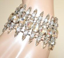BRACCIALE CRISTALLI argento donna cerimonia elegante sposa silver bracelet BB20