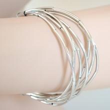 BRACCIALE donna argento maglia elegante pulsera bracelet armband браслет B22