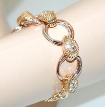 BRACCIALE donna argento oro rosa dorato anelli strass cristalli cerimonia G20