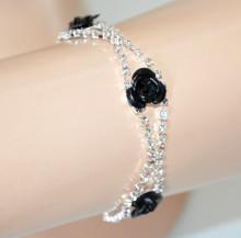 BRACCIALE donna argento platino tennis ciondoli fiori neri fili strass trasparenti bracelet CC20