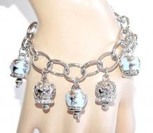 BRACCIALE donna ciondoli argento anelli lucidi smaltati strass bracelet A62