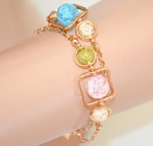 BRACCIALE donna oro dorato ciondoli pietre rosa azzurre verdi gialle elegante N8