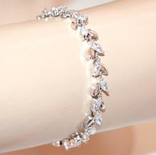 BRACCIALE donna tennis argento cristalli gocce strass elegante bracelet G42
