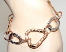 BRACCIALE oro argento donna ciondoli cuori anelli dorato elegante bracelet GP32