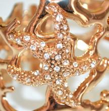 BRACCIALE ORO donna CORALLO dorato rigido a schiava stelle strass elegante 55X