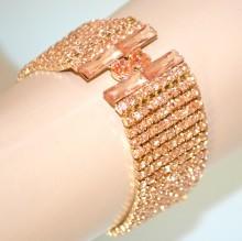 BRACCIALE ORO donna strass cristalli ambra corallo cerimonia bracelet BB8