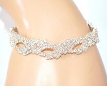 BRACCIALE STRASS ARGENTO sposa elegante donna ragazza cristalli cerimonia E170