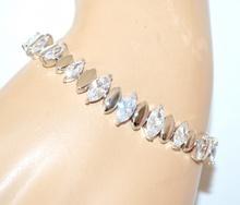 BRACCIALE TENNIS argento donna cristalli strass gocce sposa bracelet armband A22