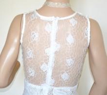CANOTTA BIANCA donna top pizzo ricamato tulle velato t-shirt elegante cerimonia G95