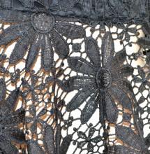 CANOTTA NERA top donna pizzo ricamato lacci sottogiacca elegante cerimonia G94