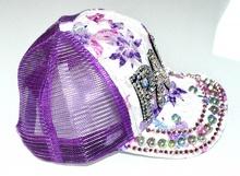 CAPPELLO donna bianco viola fucsia cristalli strass berretto visiera disco A1