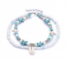 CAVIGLIERA donna stelle mare ciondoli argento azzurro turchese celeste bianco perline anklet N9