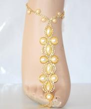 CAVIGLIERA oro donna perle baciapiedi gioiello strass da sposa elegante regalo E10