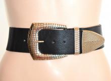 CINTURA donna NERA fibbia Argento Stringivita Cinturone alto bustino elastico regolabile eco pelle G43