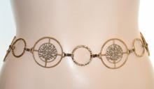 CINTURA ORO brunito donna catena metallo etnica tibetana bronzo anelli cerchi albero vita woman chain belt G74