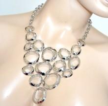 COLLANA argento donna girocollo collier collarino cerchi metallo lucido necklace BB10