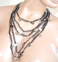 COLLANA ARGENTO NERO donna cuori ciondoli lunga multi maglia collier dark F120