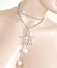 COLLANA donna LUNGA argento ciondolo stella oro strass lunga elegante girocollo perle Z4