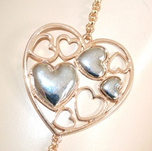 COLLANA donna LUNGA oro cuori argento girocollo elegante idea regalo San Valentino E18