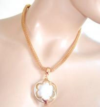 COLLANA donna ORO girocollo elegante CIONDOLO PIETRA BIANCA collier dorata halsband 970
