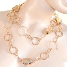 COLLANA LUNGA CINTURA donna ORO metallo dorata gioiello anelli pietre lucide elegante cerimonia festa N52