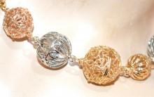 COLLANA lunga ciondoli donna sfere oro rosa argento dorata catena collier girocollo B7
